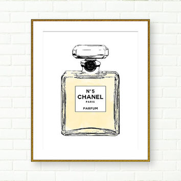 Chanel Bottle Print, Chanel no 5 Poster, Fashion Print, Black And White, INSTANT DOWNLOAD, Vanity Decor, French Decor, Paris, PRINTABLE Art