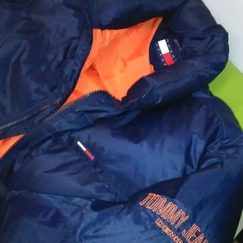 Vintage 90s Tommy Hilfiger Puffer Jacket -- size Large -- Blue/Orange