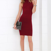Figure Eight Wine Red Bodycon Dress