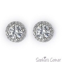 2 ct. Simulated Diamond Halo Stud Earrings