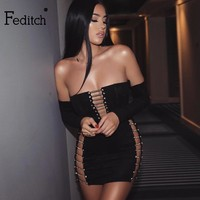 Feditch Long Sleeve Sexy Bandage Dress Women Sexy Strapless Hollow Out Bodycon Party Dresses Autumn Elegant Ladies Vestidos