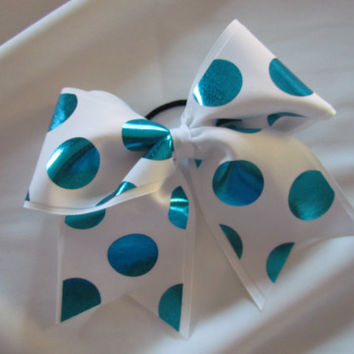 Foiled Turquoise Blue Polka Dots Cheer Bow on 3 White by BowsItUp