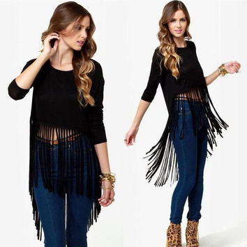 Winter Tee Tassels Women's Fashion Plus Size T-shirts = 4807029380
