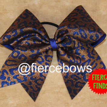 Royal Cheetah Cheer Bow