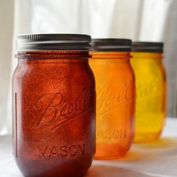 Stained Mason Jars Pint Size In Autumn Colors by willowfairedecor
