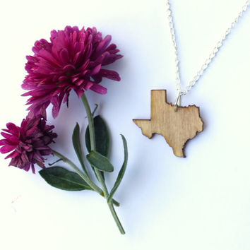 Texas Laser Cut Customized Wooden Necklace