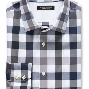 Banana Republic Mens Slim Fit Non Iron Gray Tri Gingham Shirt
