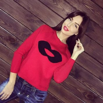 Red Lips Print Round Neck Loose Fashion Pullover Sweater