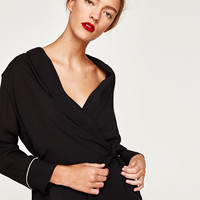 WRAP BLOUSE WITH TUXEDO COLLAR