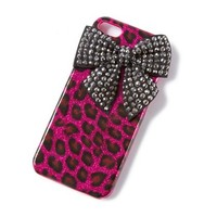 Glitter Leopard Print and Rhinestone Bow Cover for iPhone 5 and 5s  | Claire's