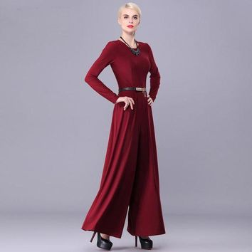 2017 New Arrival Good Quality Fashion Big Women Spring Autumn Long Sleeve Maxi Overalls Wide Leg Jumpsuit Macacao Long Pant