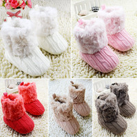 Baby Crochet Knit Fleece Winter Booties