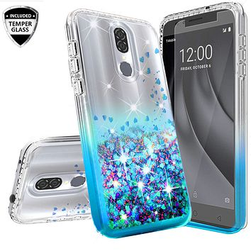 Nokia 3.1 Plus Case Liquid Glitter Phone Case Waterfall Floating Quicksand Bling Sparkle Cute Protective Girls Women Cover for Nokia 3.1 Plus W/Temper Glass - Teal