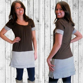 Womens Summer Dress, Brown Sheath Dress, Upcycled Clothing, Handmade Dress, Short Dress, OOAK Dress, Recycled Clothing, Altered Couture