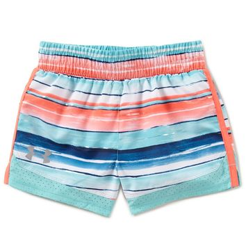 Under Armour Little Girls 2T-6X Water-Stripe/Solid Pieced Running Shorts | Dillards