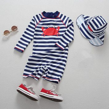 Children Swimsuits Baby Boys Swimwear Striped Crab Toddler Swimwear Kids Bathing Suits Summer Beach Clothes +cap UV Prodection