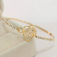 Awesome Shiny New Arrival Great Deal Stylish Gift Hot Sale Hollow Out Diamonds Floral Bangle Luxury Korean Bracelet [6573085831]