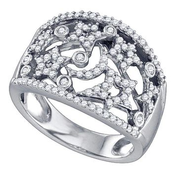 14K White Gold Women's Round Diamond Wide Star Pave-set Cocktail Band Ring 1/2 Cttw - FREE Shipping (US/CAN)