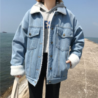 Winter Vintage Denim Jacket Women Thicken Lamb Fur Warm Fleece Jeans Womens Jackets Coat Boyfriend Windbreaker Parka Casaco
