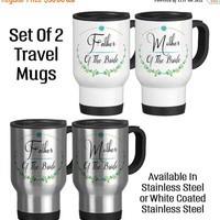 Travel Mug, Father And Mother Of The Bride Mug Set Wedding Party Dad Of The Bride Mom Of The Bride Bridal Party, Stainless Steel 14 oz