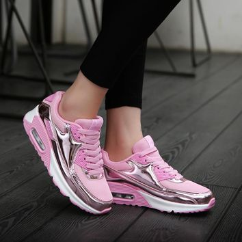 Bling Bling Women Platform Flats Shoes Patent Leather Sneakers Lace Up Brand Female Mesh Footwear Shoes for women Sports