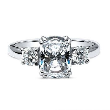 Celebrity Inspired 2.9CT Cushion Cut Russian Lab Diamond Engagement Ring