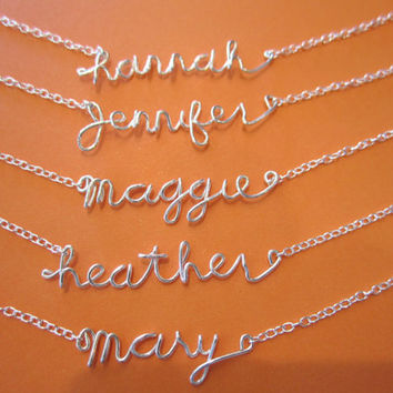Personalized Wire Name Necklace handmade sterling silver jewelry, everyday, wedding, bridesmaid, flower girl's gift