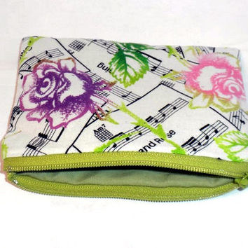 Music change purse flower music zipper pouch by redmorningstudios