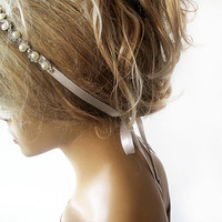 Bridal Rhinestone and Pearl headband, Wedding Headband, Bridal Hair Accessory, Wedding Accessory