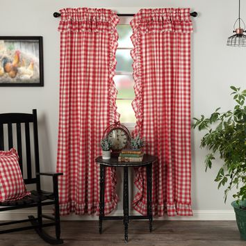 Annie Red Buffalo Check Ruffled Panel Curtains