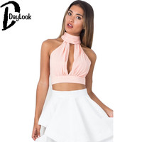 DayLook  Summer Crop Top Pink Plunge High Neck Sexy Deep V Backless Lace Bralette Pleated Halter Top Plus Size S-XL 3 Colors