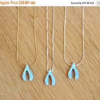 ON SALE Wishbone necklace, blue opal pendant, sterling silver / Gold Filled chain, lucky charm minimalist opal jewellery, dainty good luck n