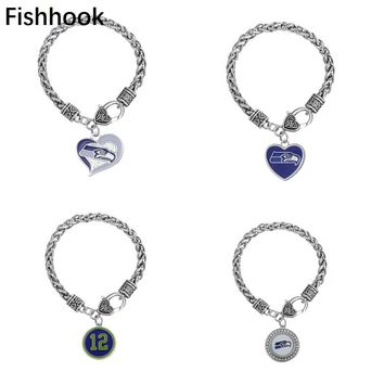 Fishhook Hot Seahawks Spirit of 12 the 12s Go Hawks Fans Bracelet Football Jewelry For Men or Women 11 styles for your choose