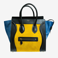 Celine Yellow Blue & Black Mini Luggage Handbag