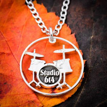 Custom Drum Set Necklace, Drummer Gift, Band Jewelry, Hand Cut Quarter