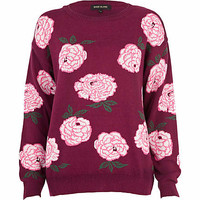 Purple tumbling roses jumper