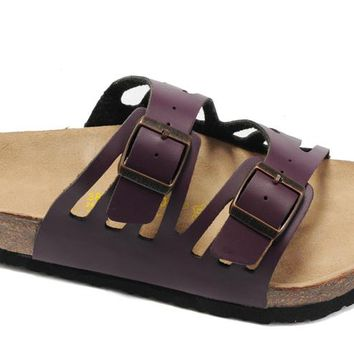 Birkenstock Granada Sandals Leather Purple - Ready Stock