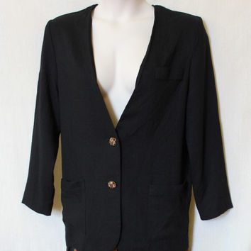 Plus Size 90s Vintage Blazer Gold Button Up Women Black Linen Suit Jacket Secretary Lined Long Style