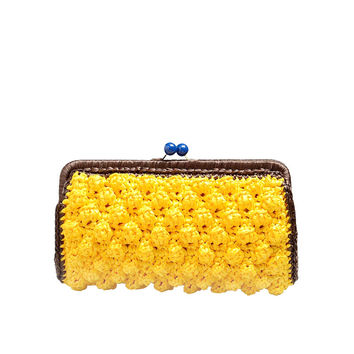 M Missoni Raffia Clutch in Yellow