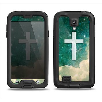 The Vector White Cross v2 over Cloudy Abstract Green Nebula Samsung Galaxy S4 LifeProof Fre Case Skin Set