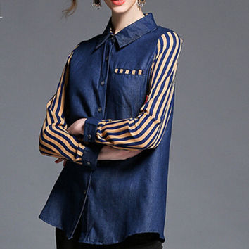 Striped Long Sleeves Spliced Lapel Denim Blouse