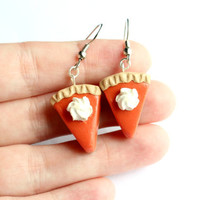 Pumpkin pie earrings - Thanksgiving jewelry - Holiday jewelry