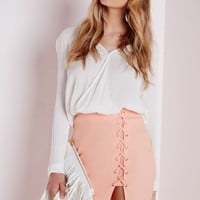 Missguided - Lace Up Mini Skirt Nude