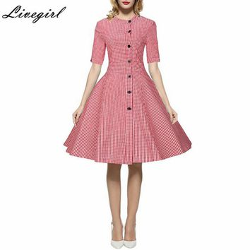 Vintage Dress Single-Breasted Plaid Retro Robe Rockabilly Feminino Vestidos Hepburn 50s Tunic Dresses Swing Dresses Plus Size