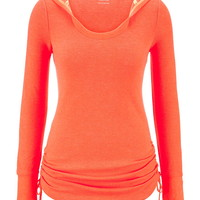 Cinched Side Thermal Pullover With Hood