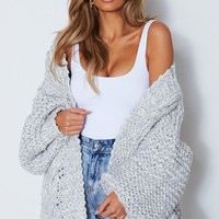 Cool Change Knit Cardigan Grey Marle