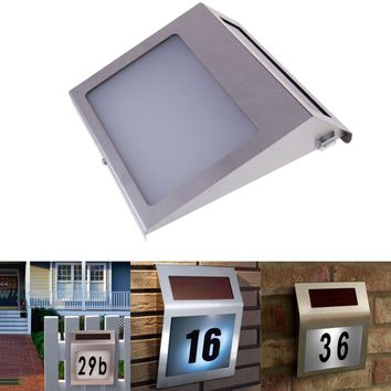 Stainless Steel 3 LED Solar Powered Wall Light LED Doorplate Lamp Outdoor Apartment House Porch Numbers Light With Backlight