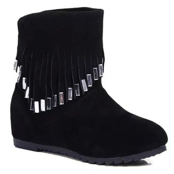 Increased Internal Boots with Rhinestoned Fringe