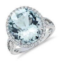 Aquamarine and Diamond Halo Ring in 18k White Gold (14 x 12mm) | Blue Nile