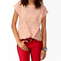Boxy Cuffed Lace Top